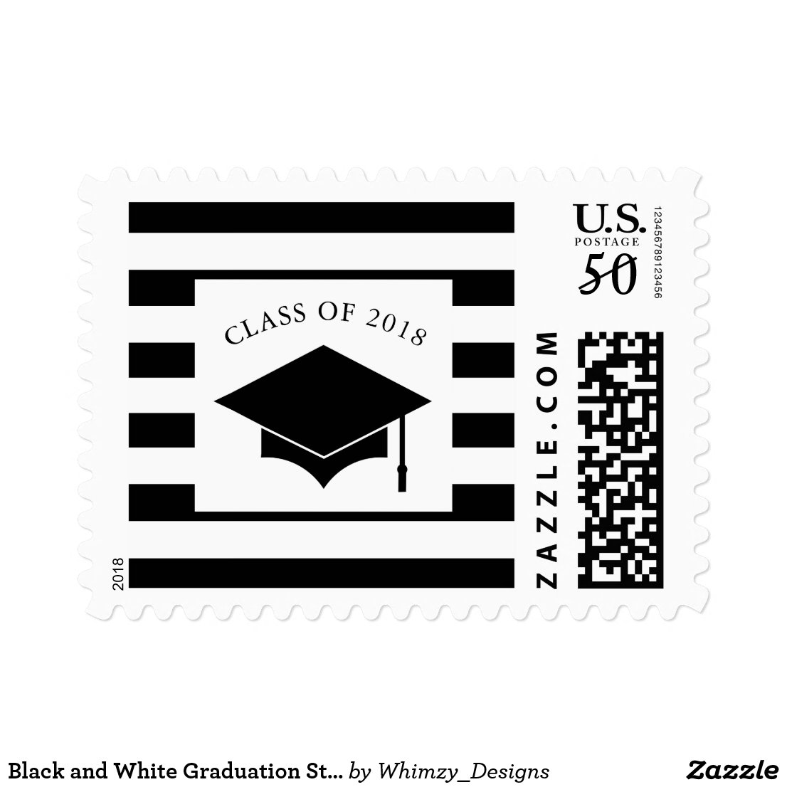 Black and White Graduation Stamps