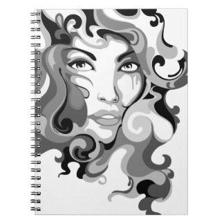Black and white graffiti girl notebook
