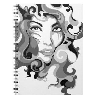Black and white graffiti girl notebook