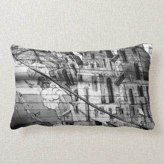 Black and White Graffiti in San Francisco Lumbar Pillow