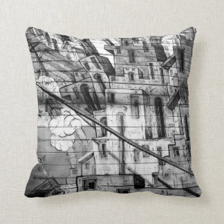 Black and White Graffiti in San Francisco Throw Pillows