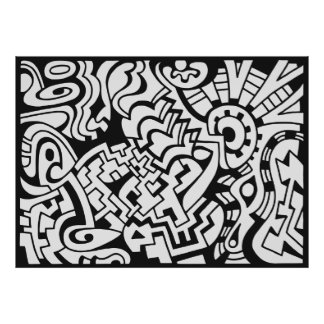 Black and white graffiti street art poster