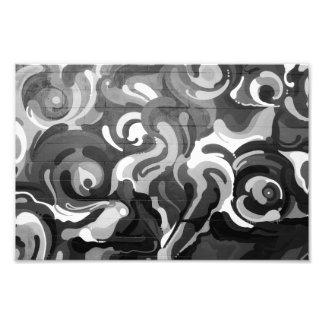 Black and White Graffiti Swirl Pattern in San Fran Photo Print