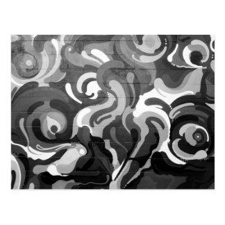 Black and White Graffiti Swirl Pattern in San Fran Postcard