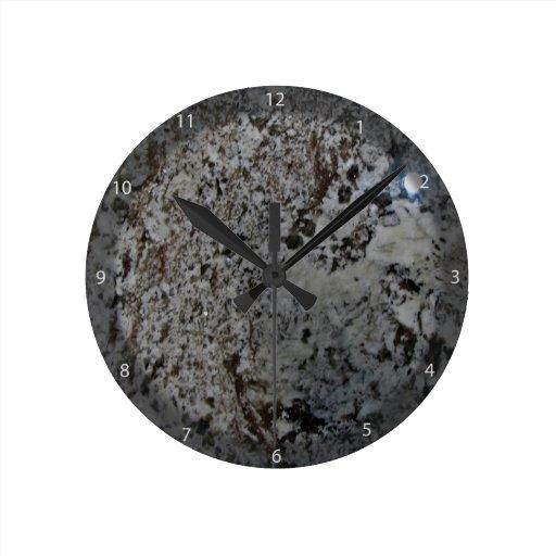 Black And White Granite Texture Round Wall Clocks