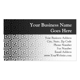 Black and White Graphic Greek Key Pattern Business Card Templates
