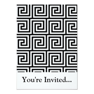Black and White Graphic Greek Key Pattern Card