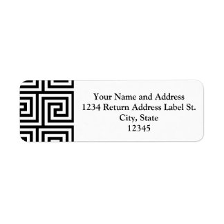 Black and White Graphic Greek Key Pattern Custom Return Address Labels