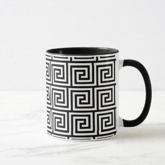 Black and White Graphic Greek Key Pattern Mug