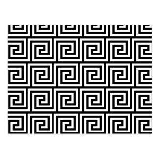 Black and White Graphic Greek Key Pattern Postcard