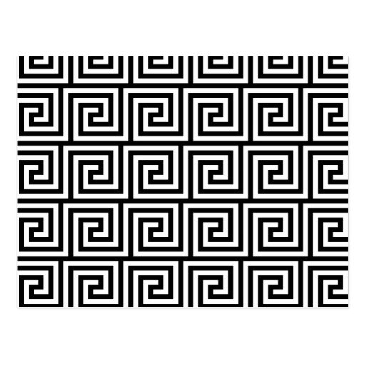 Black and White Graphic Greek Key Pattern Post Cards