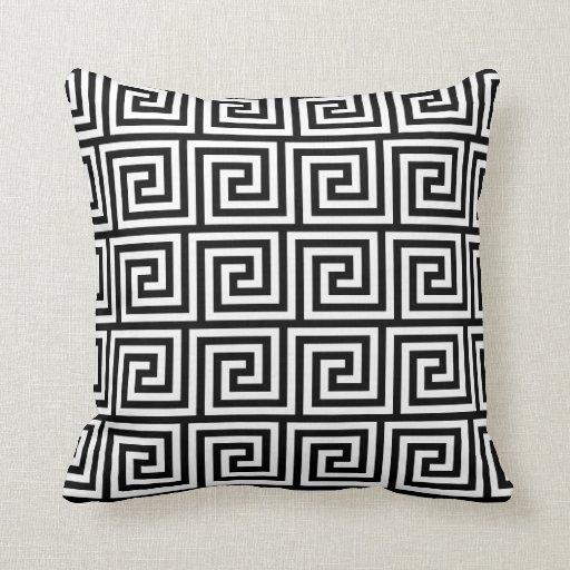 Black and White Graphic Greek Key Pattern Throw Pillow Zazzle