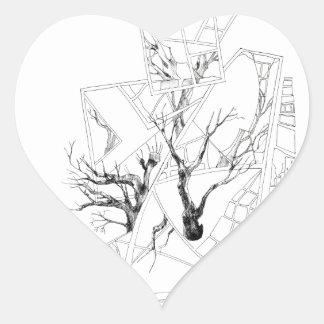 BLACK and WHITE  GRAPHIC Heart Sticker