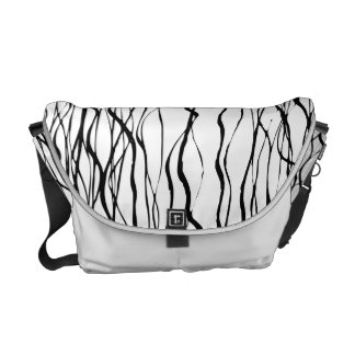 Black and White Graphic Line Art Messenger Bag