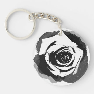 Black-and-white graphic Rose Acrylic Keychain
