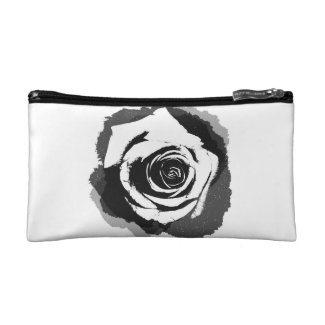 Black-and-white graphic Rose Cosmetic Bag