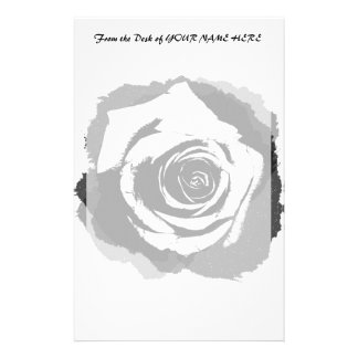 Black-and-white graphic Rose Stationery