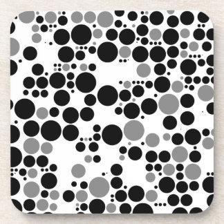 Black and white grayscale retro circles beverage coaster