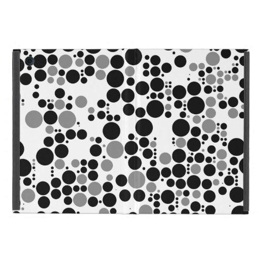 Black and white grayscale retro circles case for iPad mini