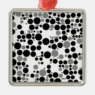 Black and white grayscale retro circles metal ornament