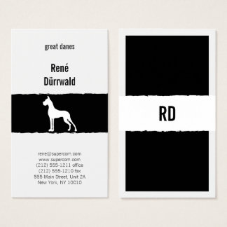 Black and White Great Dane Cropped Business Card