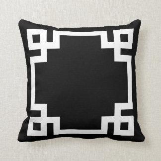 Black and White Greek Key Border Pillows