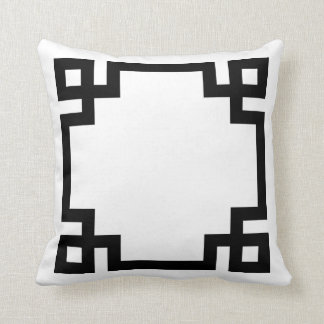Black and White Greek Key Border Throw Pillow