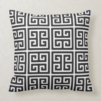 Black and White Greek Key Design Throw Pillow