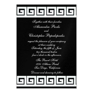 Black and White Greek Key 5x7 Paper Invitation Card