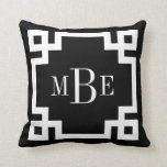 "Black and White Greek Key Monogram Throw Pillow<br><div class=""desc"">Cute girly preppy modern throw pillow with a geometric Greek key border and preppy 3 letter monogram. Click Customize It to change text fonts and colors to create your own one of a kind design. Adorable and unique gifts!</div>"