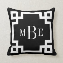 Black and White Greek Key Monogram Throw Pillow
