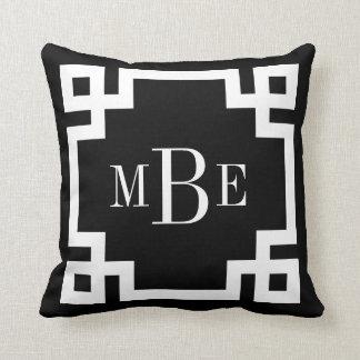 Black and White Greek Key Monogram Throw Pillow
