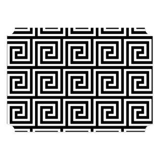Black and White Greek Key Pattern 5x7 Paper Invitation Card