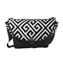 Black and White Greek Key Pattern Messenger Bag