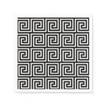 Black and White Greek Key Pattern Paper Napkin