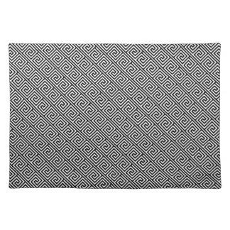 Black and White Greek Key Pattern Placemats