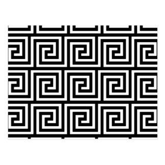 Black and White Greek Key Pattern Postcard