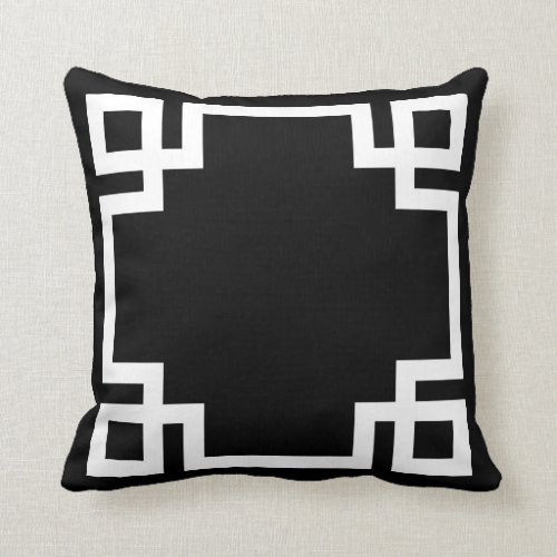 Black and White Greek Key Pillow