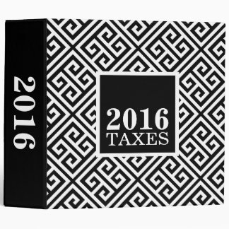 Black and White Greek Key Tax Organizer 3 Ring Binder