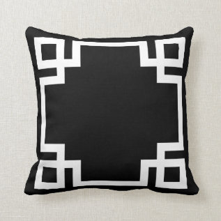 Black And White Greek Key Throw Pillow at Zazzle