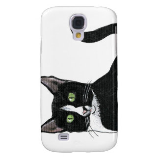 Black and White Green Eyed Cat Galaxy S4 Case