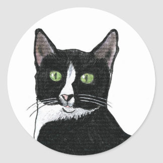 Black and White Green Eyed Cat Classic Round Sticker