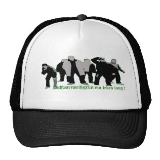 black-and-white-green trucker hat