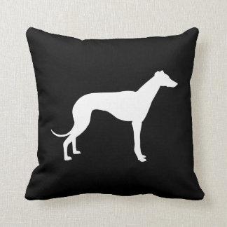 Black and White Greyhound Silhouette Both Sides Throw Pillow