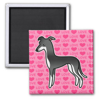 Black And White Greyhound / Whippet Love Refrigerator Magnets