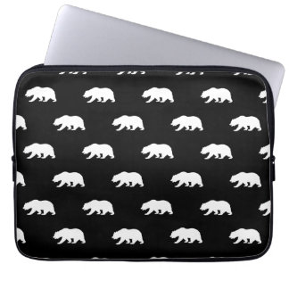 Black and White Grizzly Bear Pattern Laptop Computer Sleeves