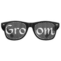 Black and White Groom Fun Bachelor Party Retro Sunglasses