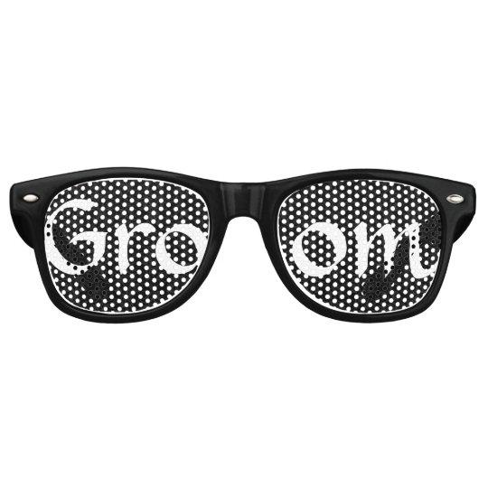 Black and White Groom Fun Bachelor Party Retro Sunglasses