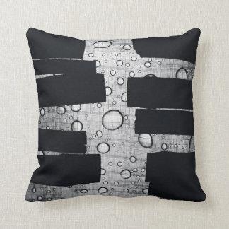 black and white grundge design throw pillow