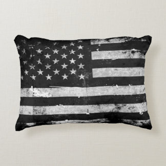 Black and White Grunge American Flag Accent Pillow